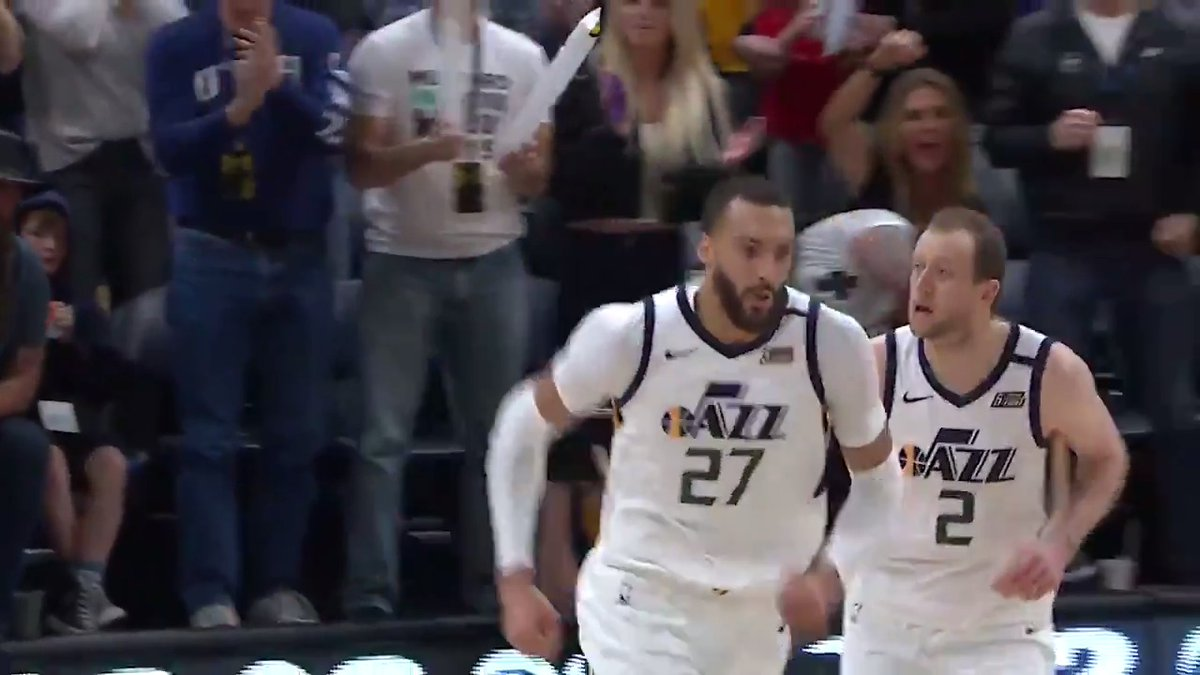Rudy Gobert recovers to make an emphatic block, earning y our Heads Up Play of the Day!