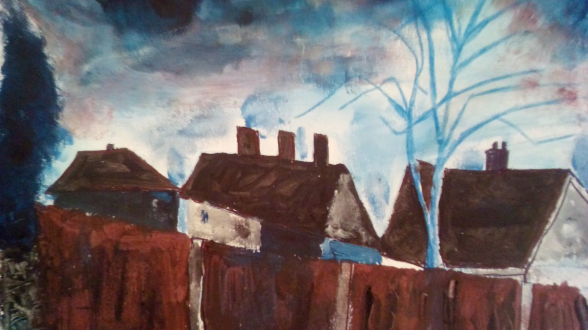 'Waking up in Birmingham'. Painted today at 7.00am #painting #landscape #expressionism #autisticpeoplecan @BM_AG #Birmingham pic.twitter.com/LuyUY7cC1v