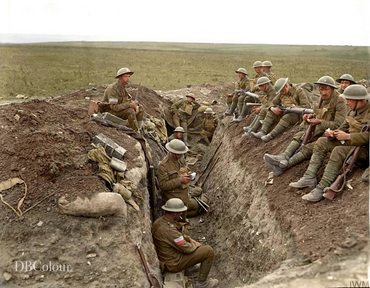 Battle of Amiens. Capture of the Chipilly Spur by the 58th (London) Division. Royal Engineers and infantry of the Division in reserve, resting in a trench near Albert. 9 August 1918.   © IWM Q 9190 <br>http://pic.twitter.com/hZ740PrBvX