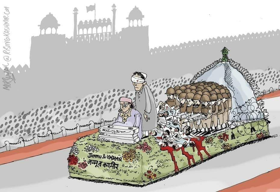 """World's """"Largest Democracy"""" celebrating #RepublicDay whereas the sufferings of Muslims of #India are increasing day by day under the rule of BJP/RSS.Meanwhile it's 175 days of lockdown in Kashmir.#BlackDay#RepublicDayIndia#BlackRepublicDay"""