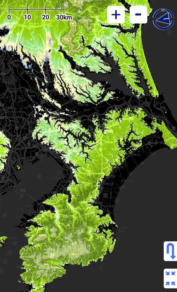 千葉県が島だという説を具現化。海面をたった15m上げると見事に島化。