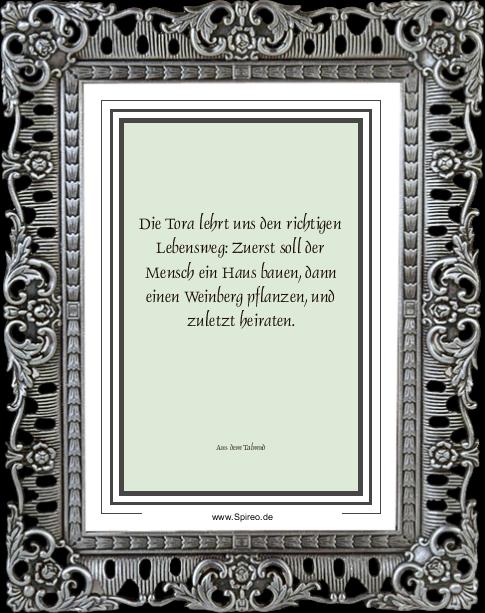 Die Tora lehrt uns den richtigen Lebensweg: Zuerst soll der Mensch ein Haus bauen, dann einen Weinberg pflanzen, und zuletzt heiraten. (Aus dem Talmud) http://spireo.de/?p=pic.twitter.com/Kfz9f6iqSS