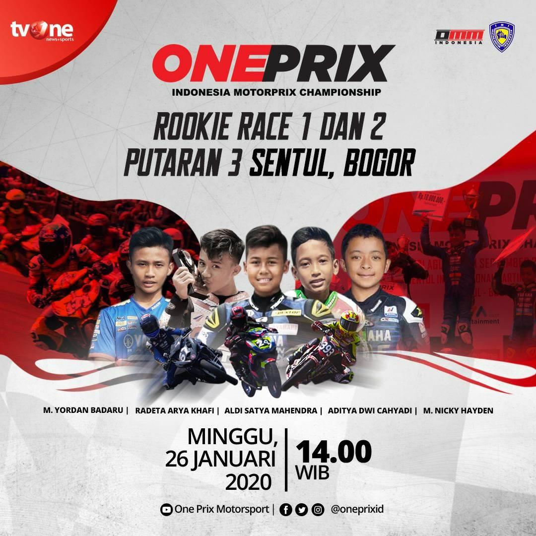 Jangan lewatkan best race: Rookie Race 1 & 2 putaran 3 Sentul, Bogor dalam Oneprix Indonesia Motorprix Championship Minggu 26 Januari 2020 jam 14.00 WIB hanya di tvOne & streaming tvOne Connect.#Oneprix
