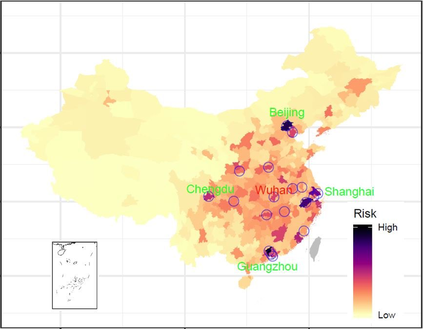 9: A team from @WorldPopProject has heat mapped the highest risk areas in China and highest risk counties for the #WuhanCoronavirus based on Lunar New Year travel prior to the holiday. Thailand, Japan, and S Korea, and the US top the list. (Ref: https://t.co/NTBkOCqIss) https://t.co/BYkdfyn64x