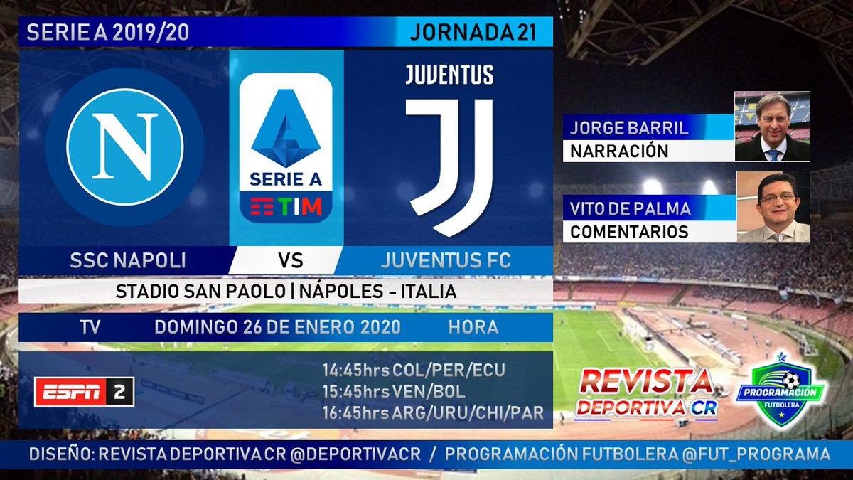 🏆 @SerieA Fecha 21 📺 @ESPNArgentina 2 🇮🇹 @sscnapoli vs @juventusfces 🎙️ @Jorge_BarriL 🎤 @CalcioDePalma ⏰14:45hrs COL 15:45hrs VEN 16:45hrs ARG 📱 #SerieAxESPN #NapoliJuve 🇨🇷 #SomosRevistaDeportivaCR 🇨🇷