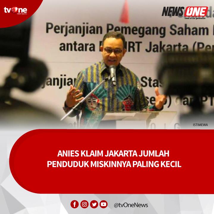 Gubernur DKI Anies Baswedan mengklaim bahwa selama lima tahun terakhir Jakarta memiliki angka persentase penduduk miskin terkecil di Indonesia. Angkanya mencapai 3,42 persen. Baca selengkapnya klik http://bit.ly/38GOv8A#tvOneNews #NewsOne #vivanews #AniesBaswedan #DKIJakarta