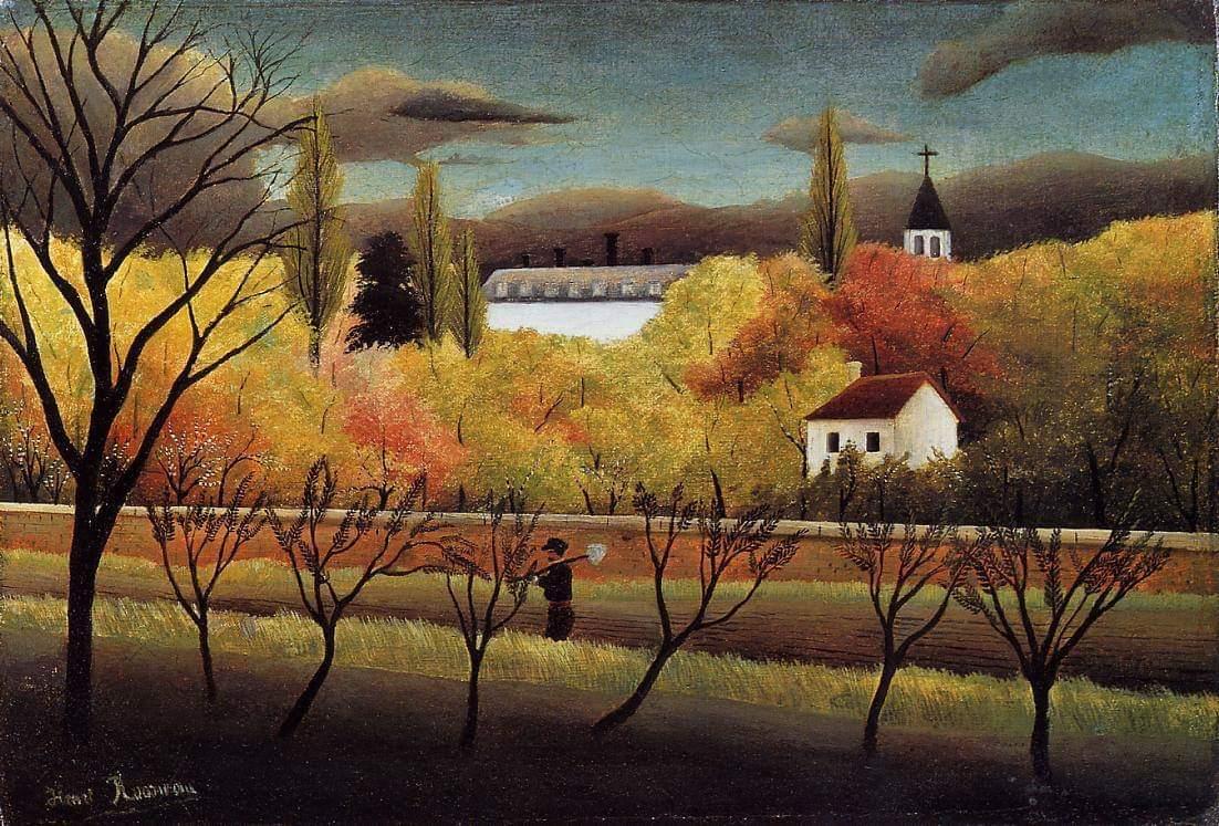 """Landscape with Farmer"". Henri Rousseau. 1896. #Iloveart #ArtYArt #Artlovers<br>http://pic.twitter.com/kfF11dDZsE"