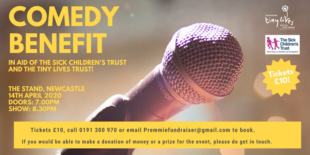 Our wonderful supporter Calvin is hosting a Comedy Benefit for us and @TheSCT on 14th April at @StandNewcastle, inspired by his daughter Lily, who spent time on the Neonatal Unit. Tickets are only £10, so pop down and support some great causes, whilst enjoying a few laughs! pic.twitter.com/ijfqThHOLQ