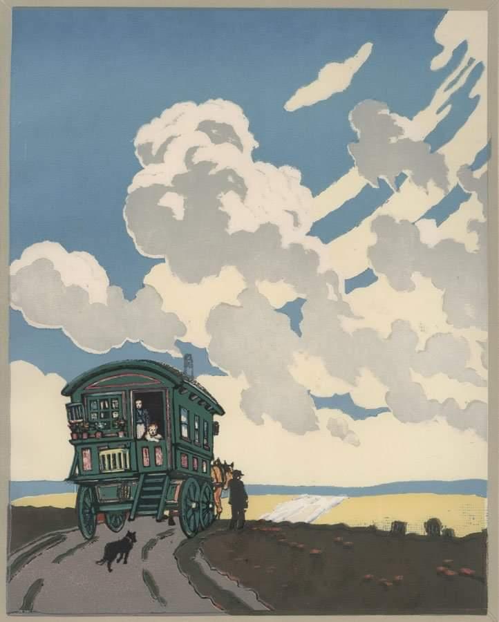 """The Caravan"". Hall Thorpe. c.1925. #Iloveart #ArtYArt #Artlovers<br>http://pic.twitter.com/g1lWKrwyqc"