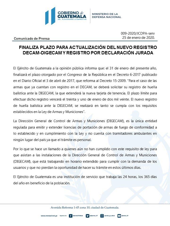 test Twitter Media - El @Ejercito_GT informa que el 31 de enero finaliza el plazo para actualización del nuevo registro DECAM-DIGECAM https://t.co/VyvnQEy43m