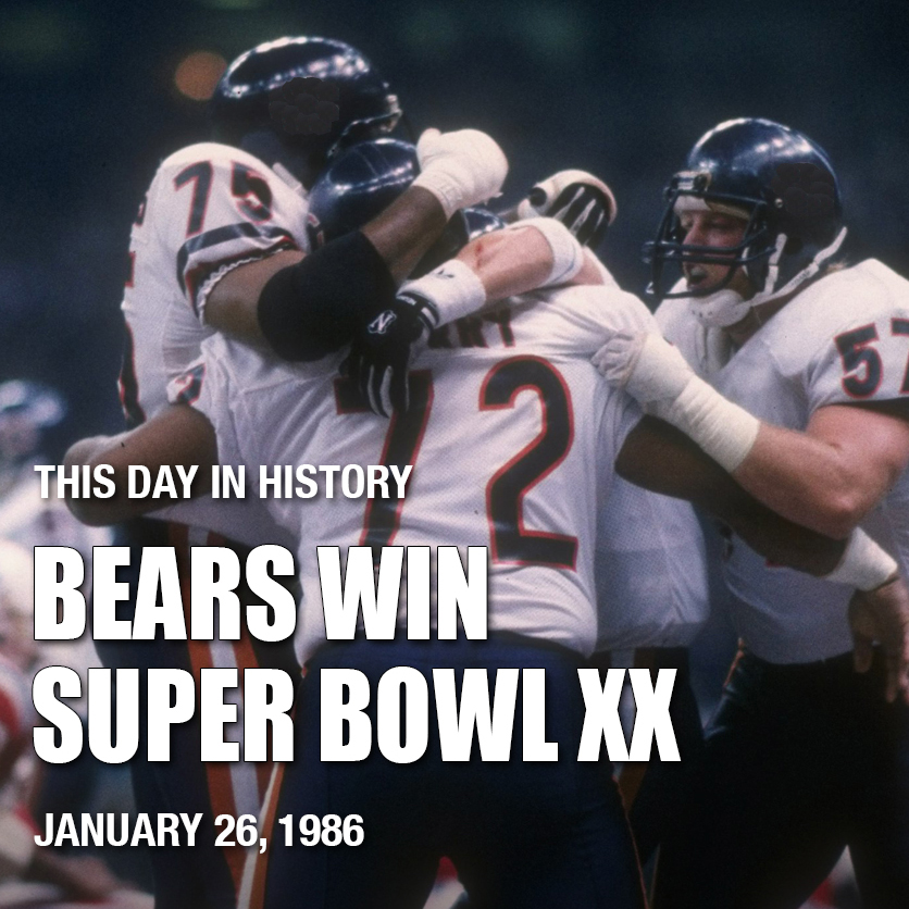 #TDIH 1986, the #Bears won the #SuperBowl, destroying the New England Patriots 46-10, and winning their first #NFL championship since the 1963 season. It was a glorious day for #Chicago. #DaBears #NFL100