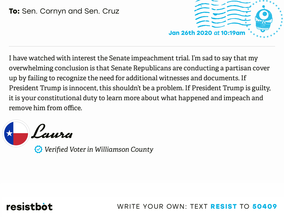 I just delivered this letter from @lulujb520 to @JohnCornyn and @SenTedCruz #TX31 #TXpolitics #ImpeachmentInquiry