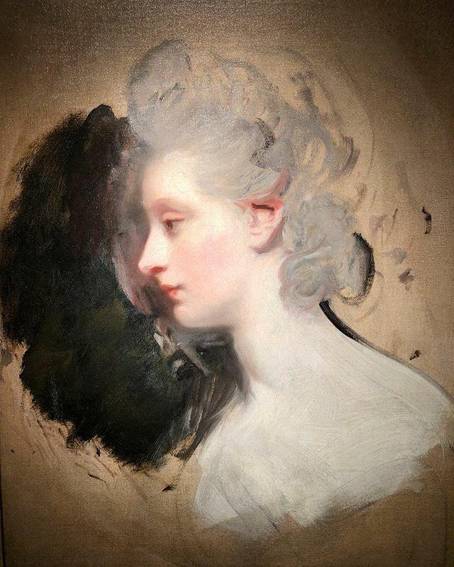 Study of a woman, Sir Joshua Reynolds, 1770s #joshuareynolds #sirjoshuareynolds #study #woman #lady #face #profile #neck #portrait #painting #painterly #brushwork #oiloncanvaspainting #hair #powder #bighair #fashion #skin #beauty #britishart #london #roy…