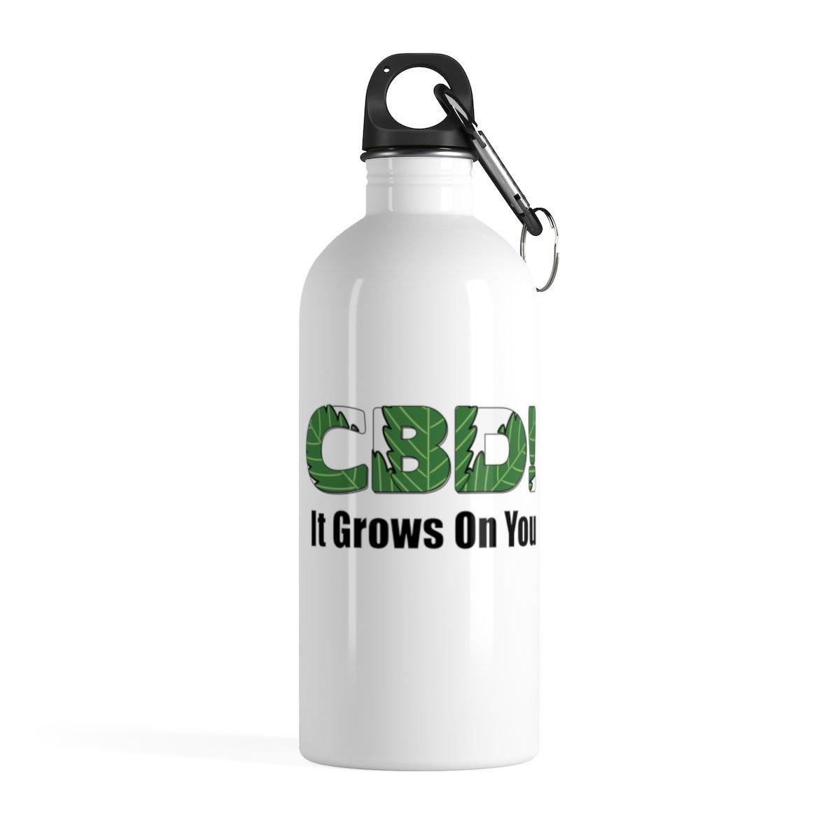CBD It Grows On You Water Bottle - Promote your CBD Business with Marketing Merchandise - Because no one knows what you do until you tell them  #CBD #Hempdistributor #CBDdistributor #ctfo #hempworx #CBDMD #hempwHerbals #auroracannabis #swagforcbd