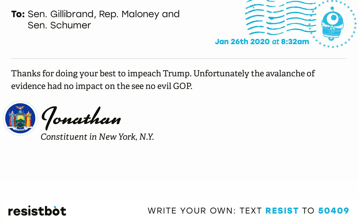 I just delivered this letter from Jonathan in New York, N.Y. to @GillibrandNY, @RepMaloney and @SenSchumer #NY12 #NYpolitics #NYpol #ImpeachmentInquiry