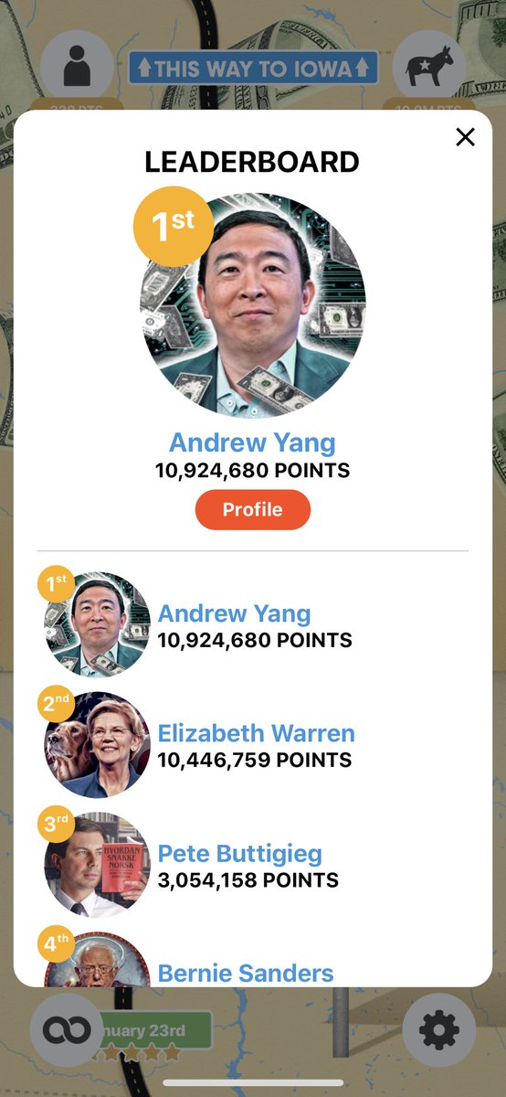 Hey #YangGang if you have any extra time make sure you sign up for this app. The person with the most points will get a campaign contribution on February 3rd and it's free! Thanks! #AmericaNeedsYang #YangSurge