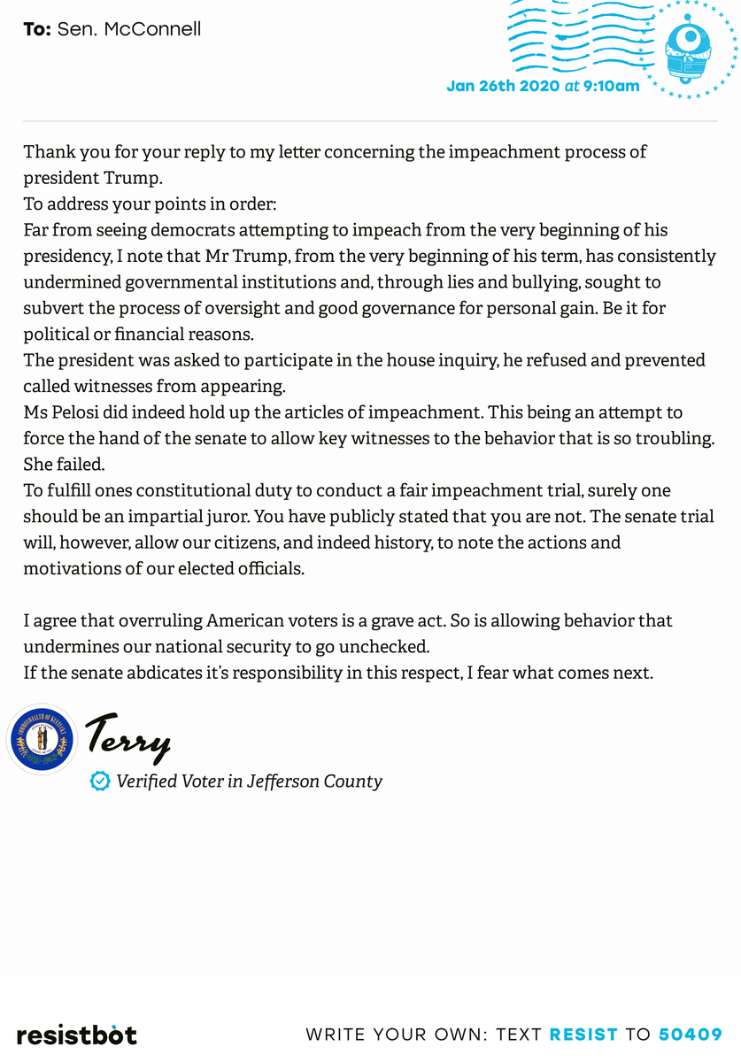 I just delivered this letter from Terry in Louisville, Ky. to @SenateMajLdr #KY03 #KYpol #ImpeachmentInquiry