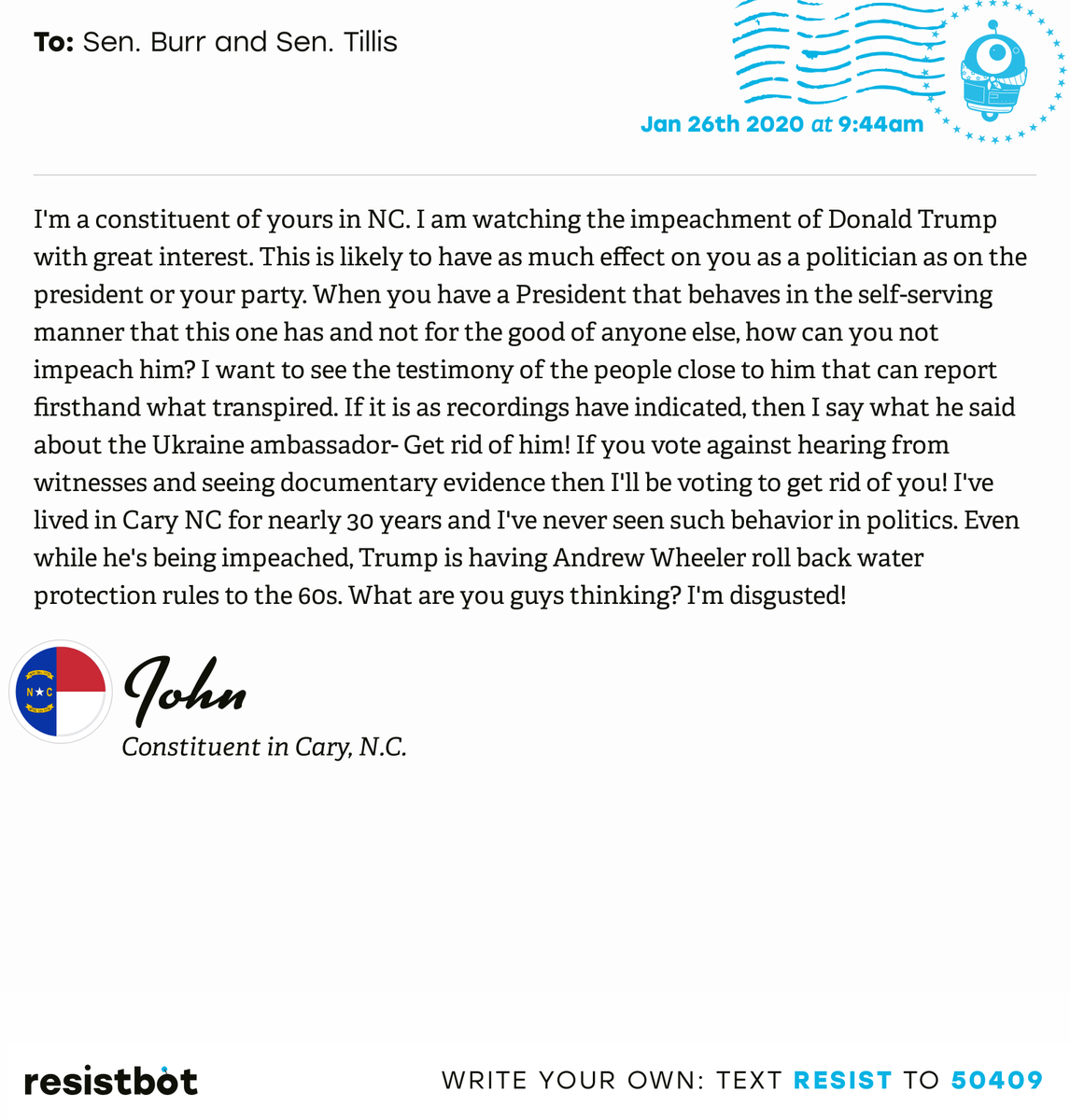 I just delivered this letter from John in Cary, N.C. to @SenatorBurr and @senthomtillis #NC04 #NCpolitics #ImpeachmentInquiry