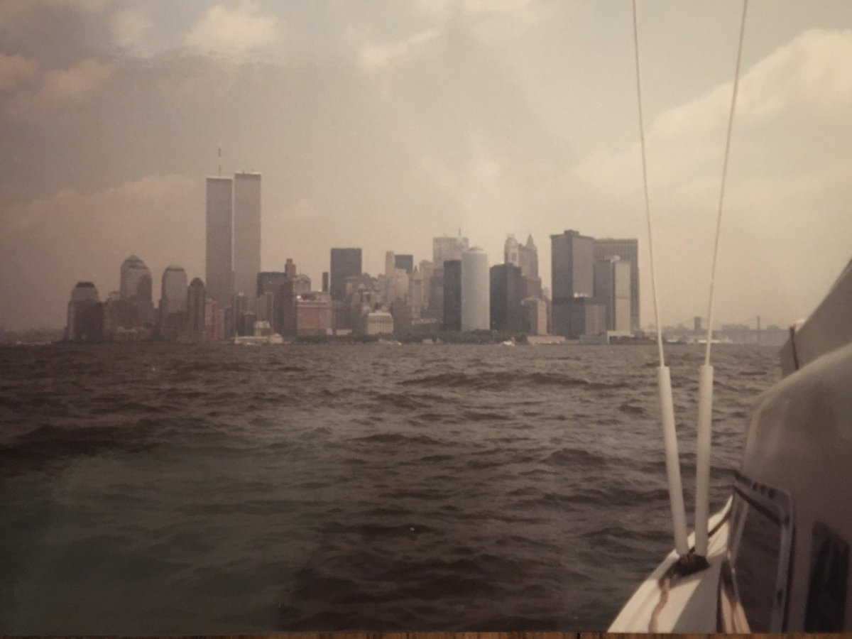 Going through my parents' old photos & came upon this: the Twin Towers as seen from father's sailboat on the Great South Bay. #twintowers #worldtradecenter #nyc #history<br>http://pic.twitter.com/Ba04vIswqY
