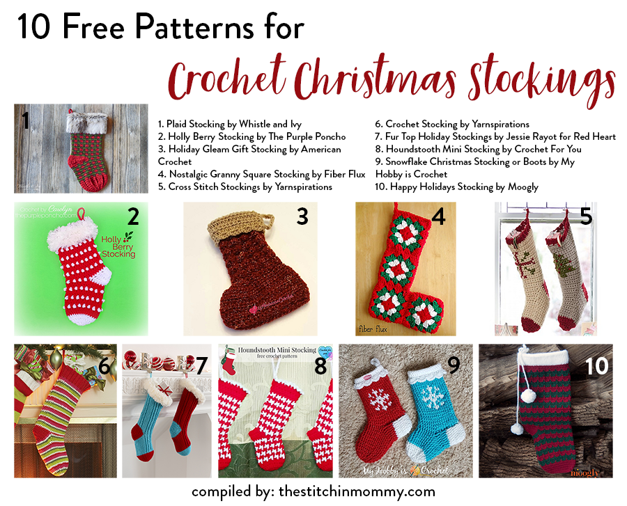 10 Free Patterns for Crochet Christmas Stockings compiled by The Stitchin' Mommy http://bit.ly/2ziAAaepic.twitter.com/EfTCMuDRUe