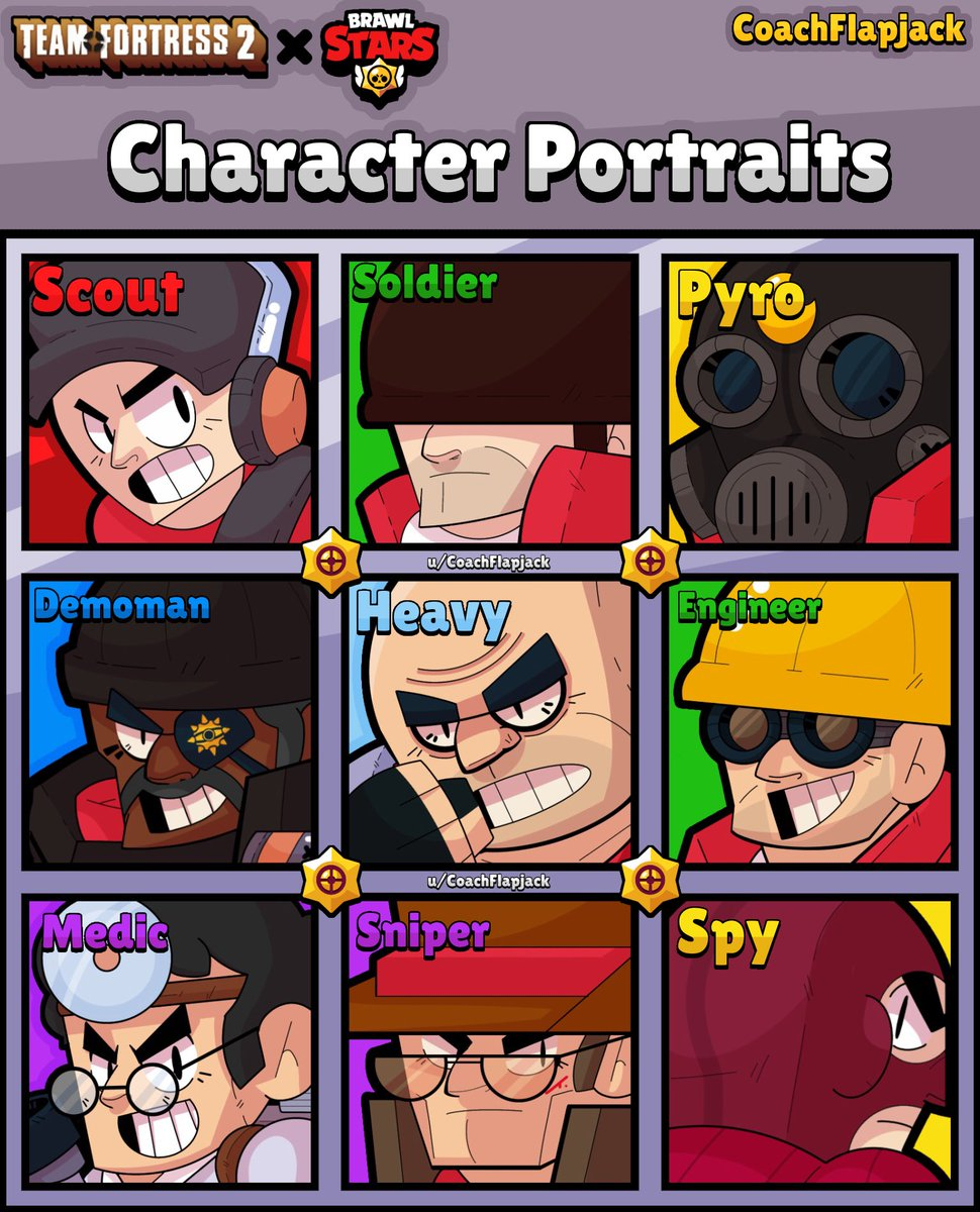 @TeamFortress and @BrawlStars art?! Here are some character portraits I drew for about two weeks, all being improvements of the old portraits about a year ago! @pawchaw #BrawlStars #teamfortress2pic.twitter.com/Hfa09UldtU