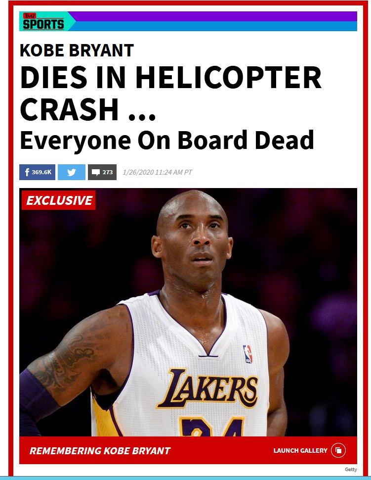 RT @moserladige: Kobe Bryant muore in un incidente...