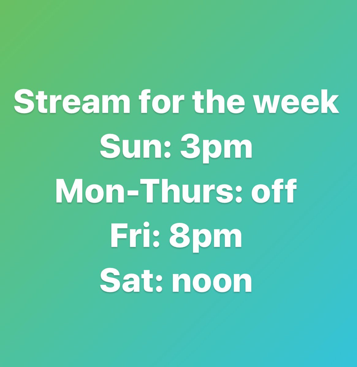 Schedule for the week! This is what it'll look like most of the time because of school. See you later today! #twitch #twitchaffiliate #digitalartist #animeart #gamer #twitchcommunity #twitchstreamerpic.twitter.com/gCAjSpbBBa
