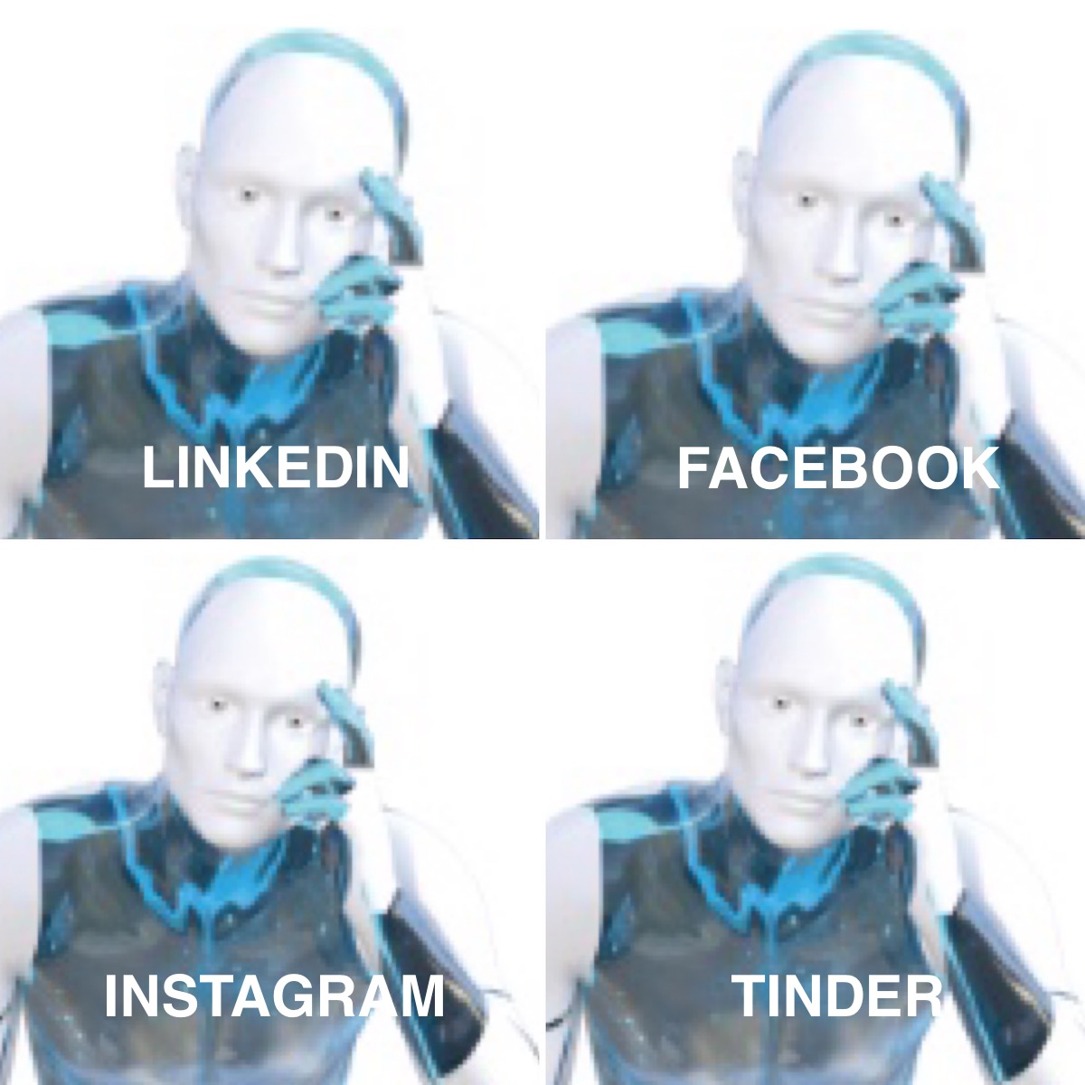 1/ OK, so we think that #AIbeings will not care at all about #SocialMedia since they can/will keep in touch via their cloud ( let's call it #Borg ) connectivity. But if they did ...  #AI #CelebrityMemes pic.twitter.com/EBRmLPYMvS