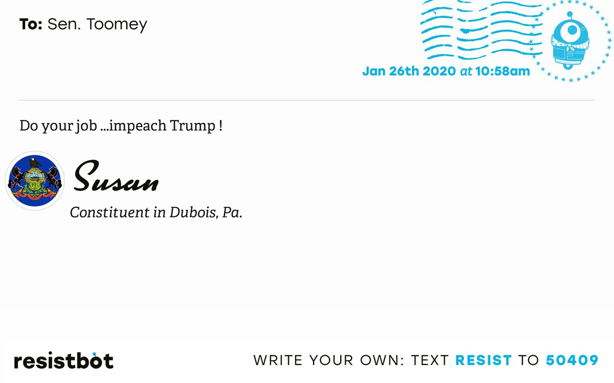 I just delivered this letter from Susan in Dubois, Pa. to @SenToomey #PA15 #PApol #ImpeachmentInquiry