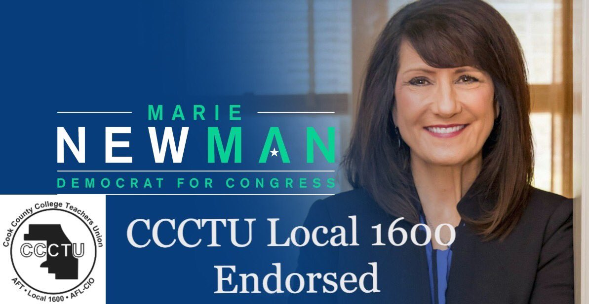 Thank you for your endorsement, @CCCTU_Local1600! I'm committed to making higher education more accessible across all communities, addressing the student debt crisis, and fighting alongside educators to make sure our students have all the resources they need. #NewDayInIL03 #IL03 <br>http://pic.twitter.com/fnlvpHEvmS