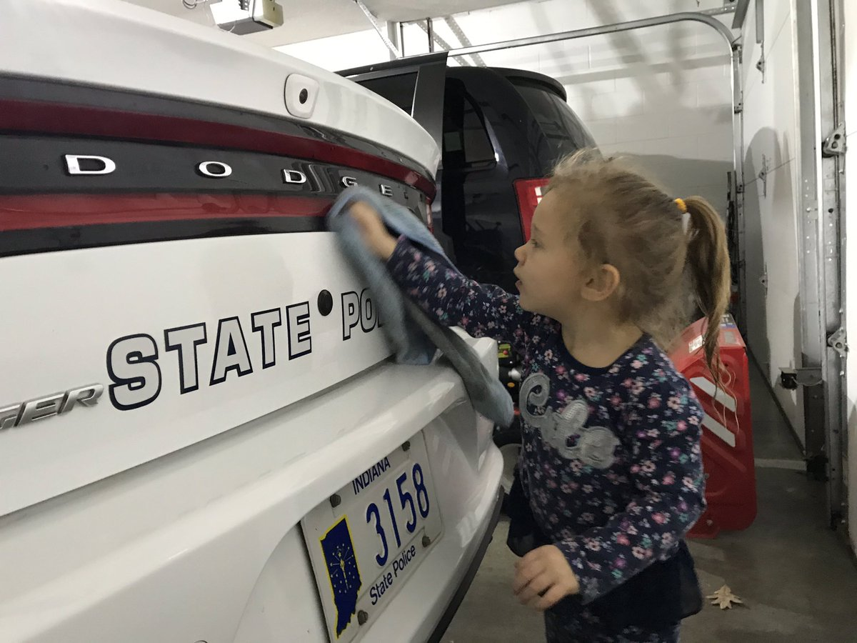 Tomorrow starts another work week, so Ava is helping to get my car ready. Must have a clear car!