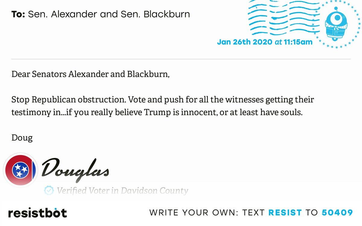 I just delivered this letter from Douglas in Nashville, Tenn. to @SenAlexander and @MarshaBlackburn #TN05 #TNpolitics #TNpolpic.twitter.com/w8PoGciaVW