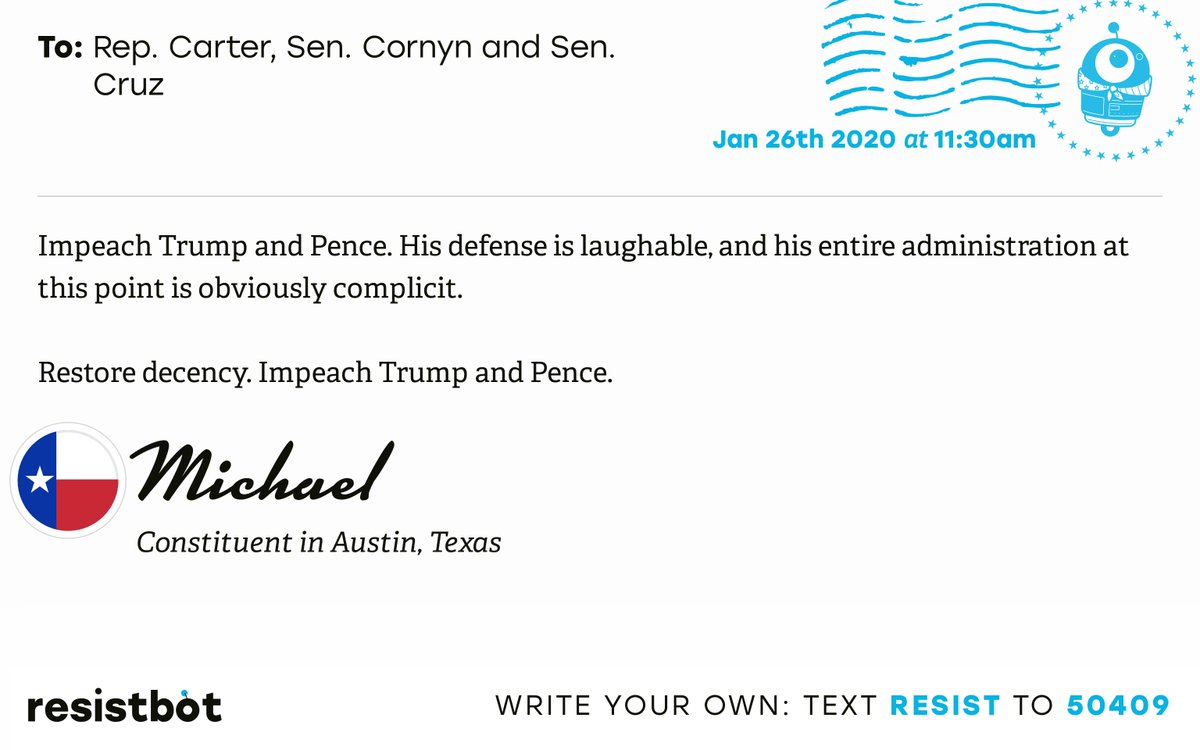 I just delivered this letter from Michael in Austin, Texas to @JudgeCarter, @JohnCornyn and @SenTedCruz #TX31 #TXpolitics #ImpeachmentInquiry