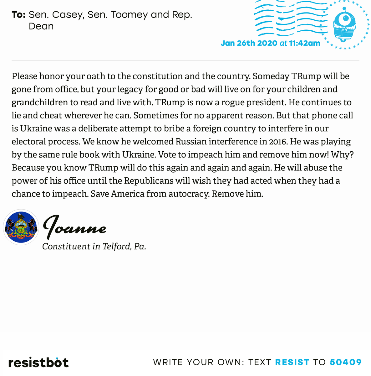 I just delivered this letter from Joanne in Telford, Pa. to @SenBobCasey, @SenToomey and @RepDean #PA04 #PApol #ImpeachmentInquiry
