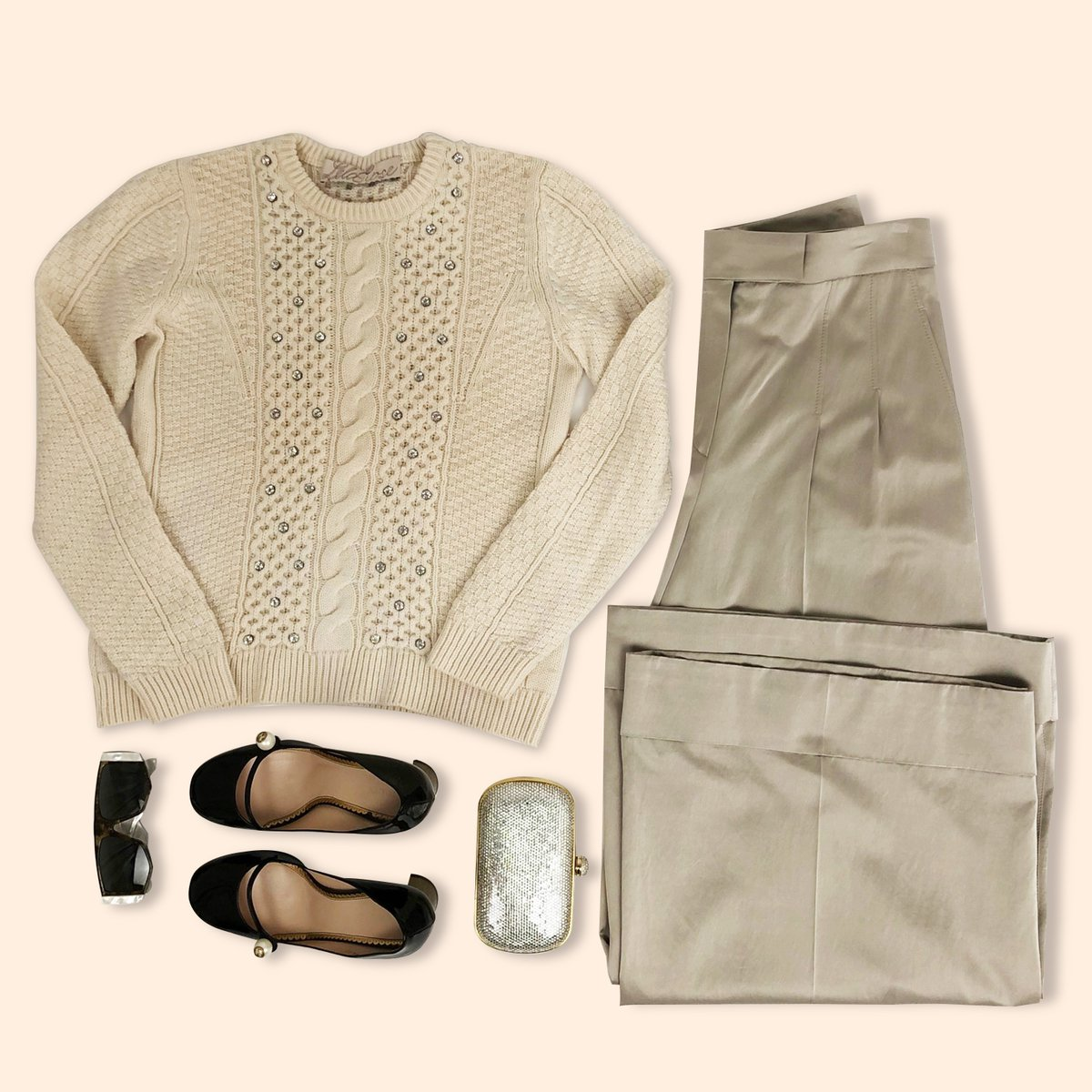 Beautiful in shades of beige. #LelaRose Sweater Sz. 6 $225 #BrunelloCucinelli Pants Sz. 8 $430 #Gucci Heels Sz. 39 $455 #Loewe Sunglasses $225 #JudithLeiber Clutch $685pic.twitter.com/tWTDg24R7m