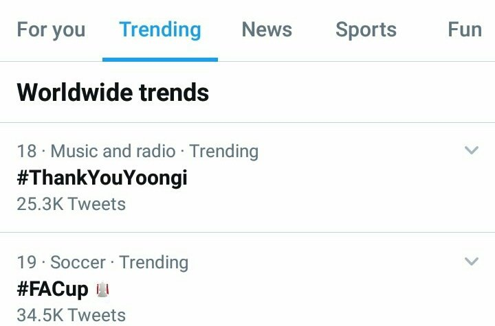 #ThankYouYoongi is trending No. 18 Worldwide.  It's been 7 years since Yoongi's first ever tweet and ARMYs are showing him love and appreciation for Always working so hard. <br>http://pic.twitter.com/51dbYBuYIy