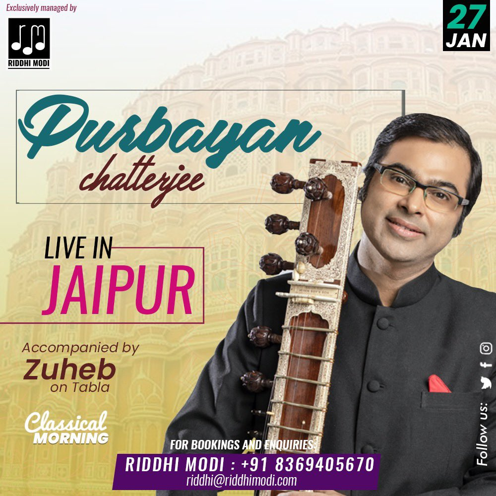 Classical Music The most magical form ever  Let's be the audience of Magical music  Join us in the morning for @stringstruck  performance live in Jaipur   Bookings & Enquiries call at Riddhi Modi +91 8369405670 . . #riddhimodi #artistmanagement #jaipur #sitar #Jlf2020pic.twitter.com/khpRI7dtJu