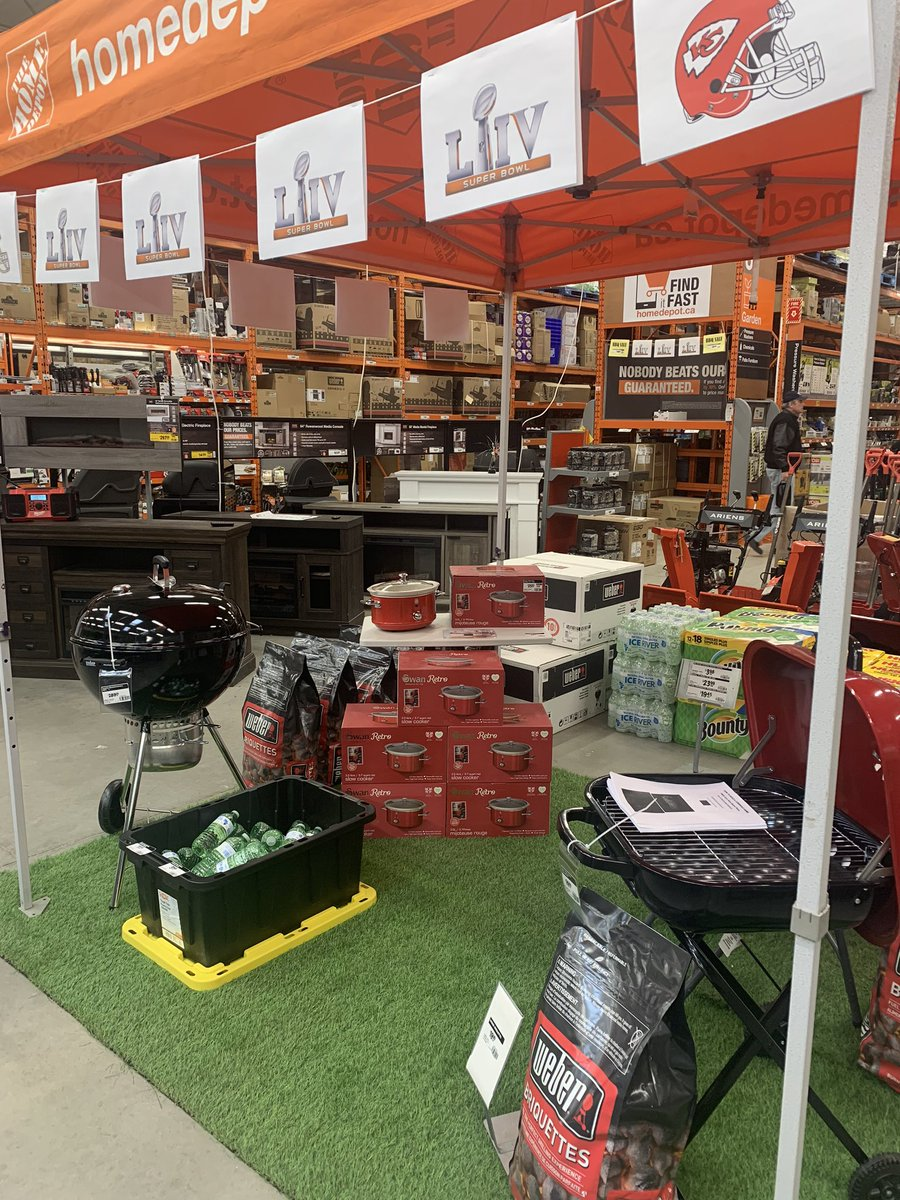The countdown is on for #SuperBowlLIV at the Home Depot! 🏈 We have charcoal BBQ and clearance @Weber's on sale as well as #swan #slowcookers for your chili cook offs! Stop by and be #tailgate ready for Sunday!  @figgyj97 @HomeDepotCanada @raygoral @MarkGettyHD @coyoteswap