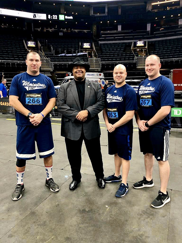 """Team """"Wilmington's Finest"""" joined first responders from across New England at the #BostonGarden this morning for the @nhlbruins #BfitChallenge. Participants ran a course through the TD Garden to raise funds for the @100clubmass. Nice job boys! #WilmingtonMA"""