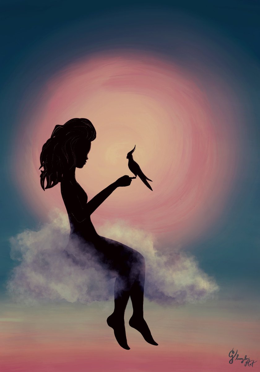"""3/52  #teleidoscope2020 """" L E V I T A C I O N """"  Gracias por tus cantos que alegraban los días de silencio.  ojalá algún día nos volvamos a encontrar allá arriba. Hasta.siempre querido shally  Ninfillla loca del corazón   #digitalart #digitaldrawing #illustration  #ninfaspic.twitter.com/agiXDItr7y"""