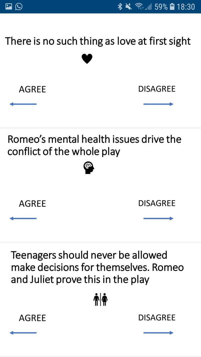Romeo & Juliet revision exercise- a series of controversial statements to get students thinking on the spot and retrieving evidence (key moments & quotes) from memory.  #romeoandjuliet #retrievalpractice   Link to ppt https://1drv.ms/p/s!Agc-_Dc7TCIUuFr1wQ2KACLkp7CA…pic.twitter.com/C1yjfCXQp6
