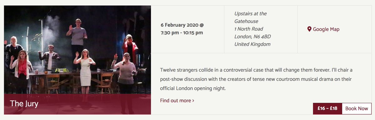 I've also got several new events I want to tell you about in the next few days. Starting with @TheJuryUK. I'll be chairing a Q&A as part of this #newmusical's official London premiere at @GatehouseLondon on 6 Feb.  Join me!  https://www.terripaddock.com/events/jury-upstairs-gatehouse-post-show-talk/… #musicaltheatre #STpic.twitter.com/YITJl5tVAv