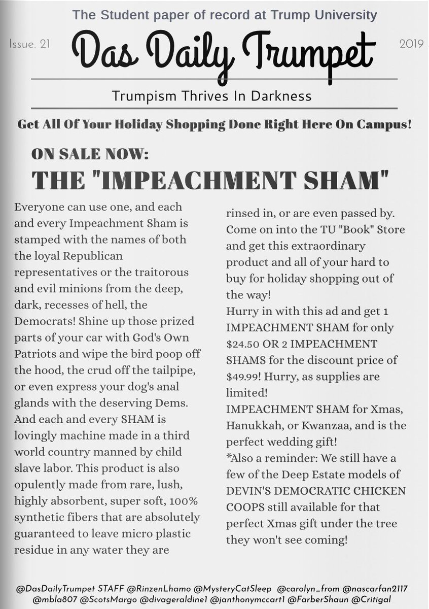@FoxWeatherChann @KrisArmstrong1 @BeltwayPanda @mk_inwa @Hudibrastic @RLElam @PeterRabbit67 @klscomus1 @DonGone5 @hazydav @alienhumanqueen @carolyn_from @mbla807 @acehanna54 Impeachment Sham-A--Lam-A-Ding-Dong, with back up by Devin, Lindsey, and the Colon Boys. Each and every single was given away free as a gift with the purchase of the below. Record sales of 26.3 were sold!