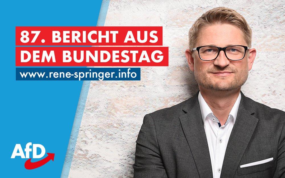 +++ 87. Bericht aus dem #Bundestag online +++  Auch in dieser Woche möchte ich Sie über meine Arbeit und das Wirken der @AfDimBundestag informieren.  Zum Bericht: https://rene-springer.info/rundbrief87  Noch kein Abonnent? Jetzt abonnieren: https://rene-springer.info/rundbrief             #afd  @AfDpic.twitter.com/YjDUwIMJzW