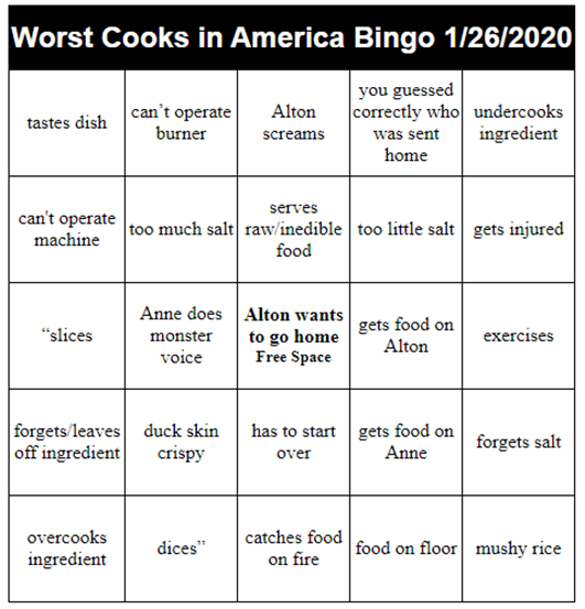 Sunday funday - almost time for #WorstCooks on @FoodNetwork with the awesome @altonbrown and amazing @chefanneburrell. You  know what that means...BINGO!   Disclaimer: I am not affiliated with Food Network or the show. I play the game along with everyone else. <br>http://pic.twitter.com/JWwtynmXZq