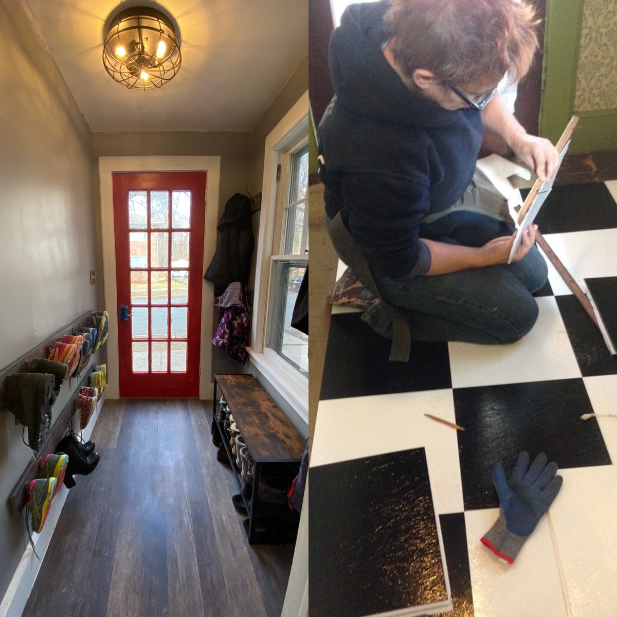 Almost at the end of the road—time to hang some art. Here is a pic of the beginning of the Reno, mud room edition, and where it is now. #upcycle #renovation #oldhouse #diy #mudroompic.twitter.com/IngtjBJTNK
