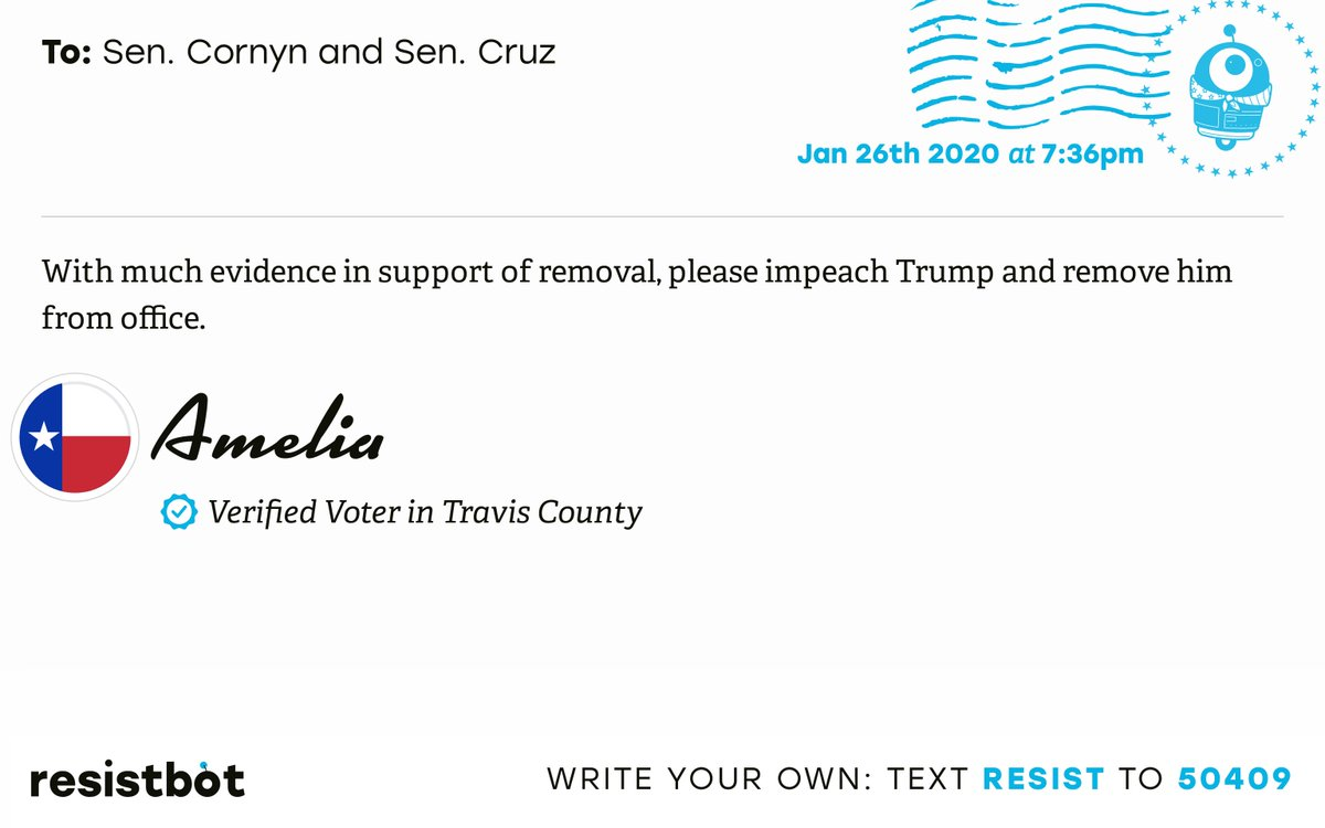 I just delivered this letter from Amelia in Austin, Texas to @JohnCornyn and @SenTedCruz #TX17 #TXpolitics #ImpeachmentInquiry