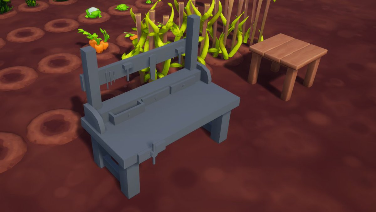 Just started working on a crafting bench ⚒️ Does anyone have any cool suggestions on features I could add?? Lemme know in the suggestions channel on the discord: discord.gg/QrCtDHN 😊 @farmfolksgame #indiedev #indiegame #UnrealEngine #Blender3d #Discord #lowpoly