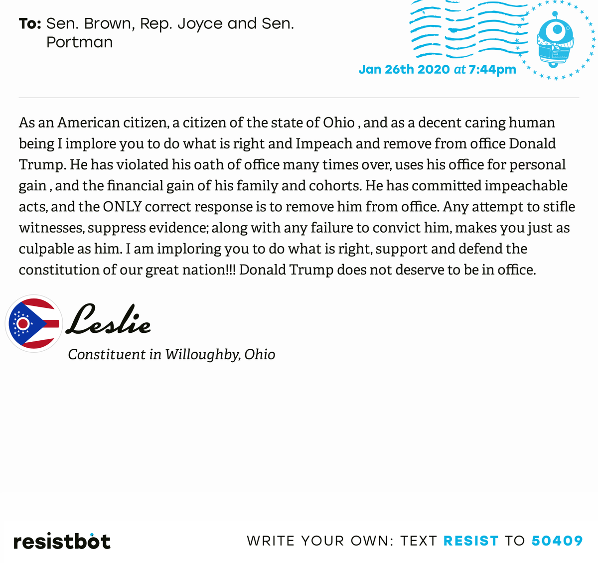 I just delivered this letter from Leslie in Willoughby, Ohio to @SenSherrodBrown, @RepDaveJoyce and @SenRobPortman #OH14 #OHpol #ImpeachmentInquiry