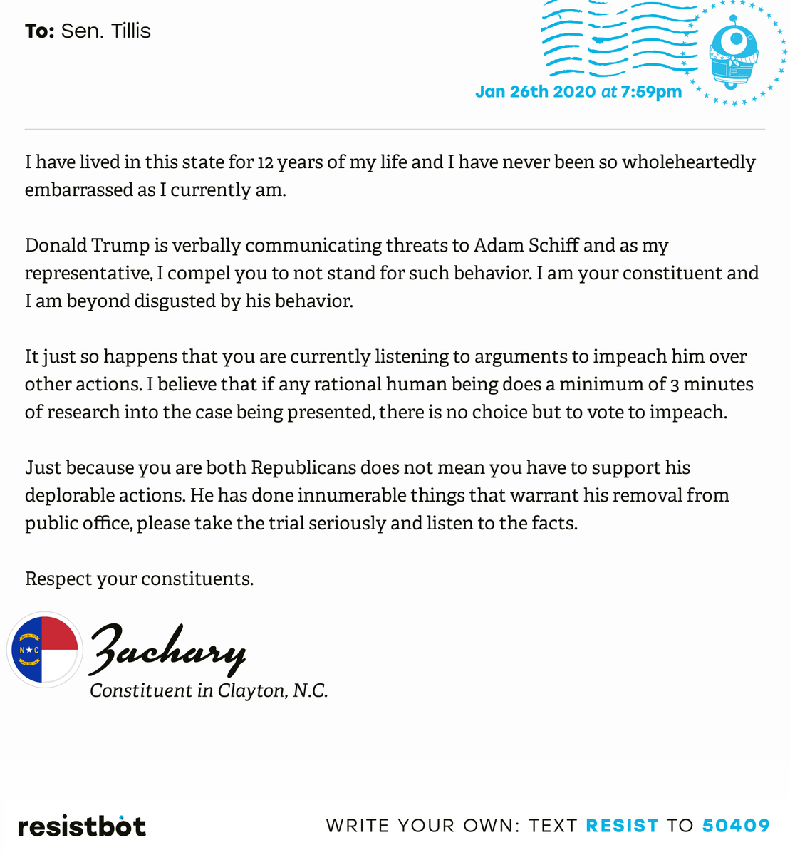 I just delivered this letter from Zachary in Clayton, N.C. to @senthomtillis #NC02 #NCpolitics #ImpeachmentInquiry